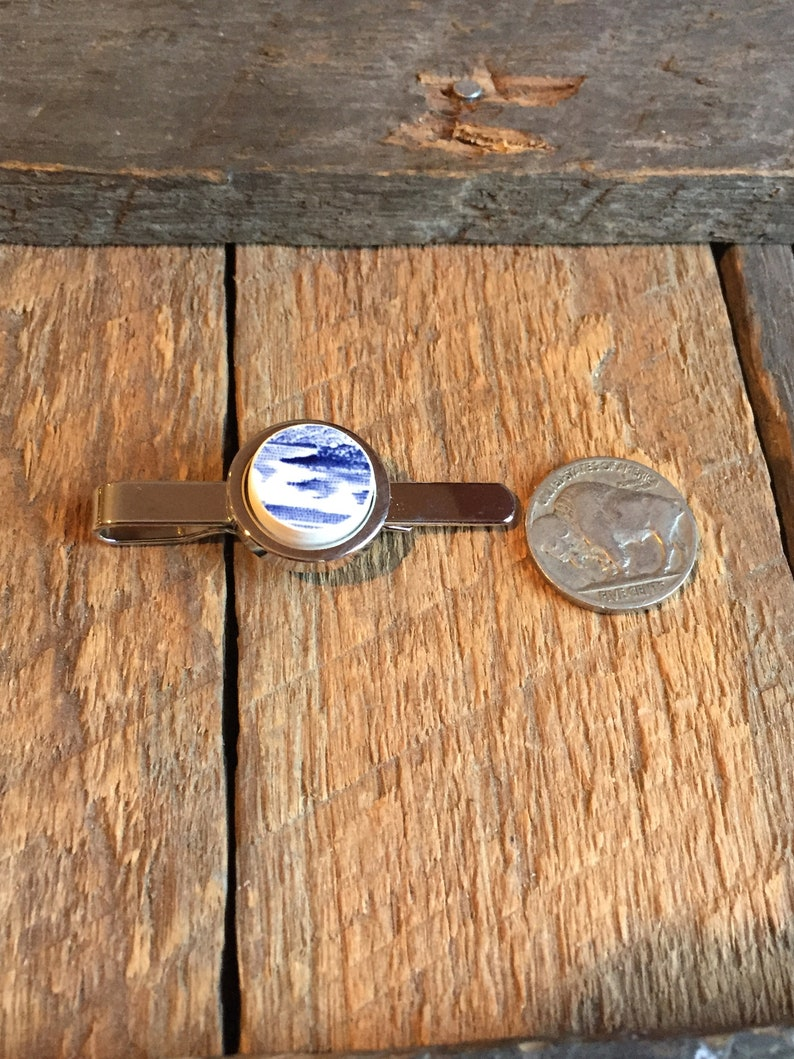 One of a Kind Artifact Jewelry OOAK Mens Blue China w ocean Scene on Silver colored tie clip Historic Charleston Broken China Tie Bar