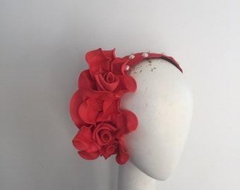 Red Fascinator , headband , headband Fascinator , pearls, races hat, Fascinator , Melbourne Cup