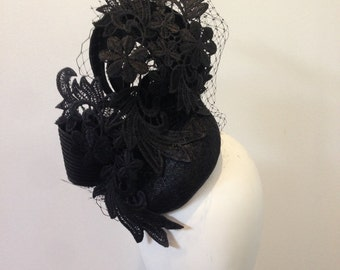 Ascot derby melbourne cup race day hat black lace fascinator
