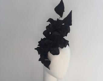 Black Fascinator , headband Fascinator , turban inspired , races hat, Millinery , church hat, met gala, headpiece