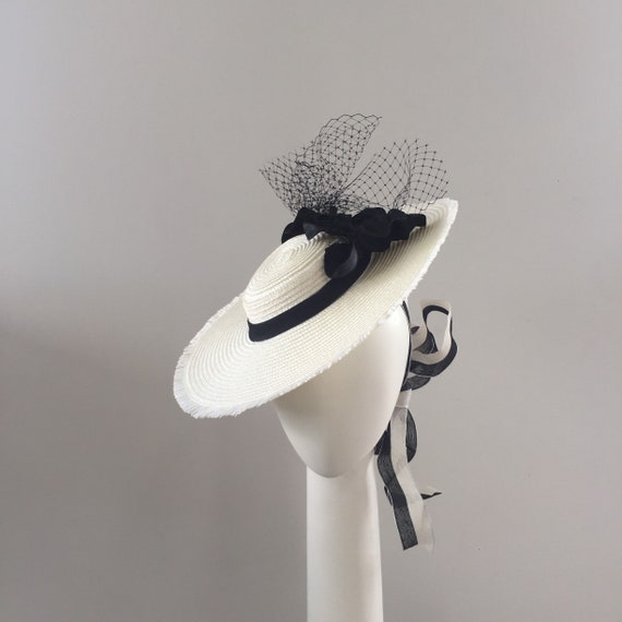 Boater boater hat boater Fascinator Fascinator black and  f9d12e4485c