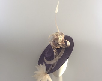 Boater hat, hat for royal as or, ascot hat, races hat, Fascinator , purple hat, melbourne cup, races Fascinator