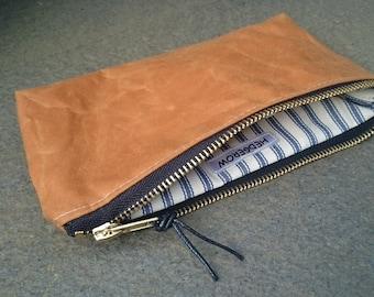 Wax Canvas Pencil Case, Zipped Pouch, Gold, Sand