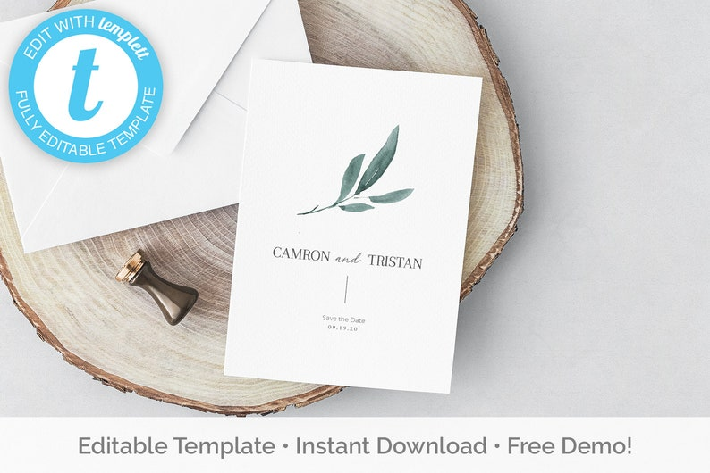 Watercolor greenery save the date templett 5x7 100/% editable print yourself instant download