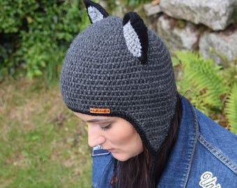 Handmade Crochet Cat hat, Black Cat hat, Grey Cat hat, Cat hat with pom pom, Adults hat, Cat hat for adults, Pets hat, Ready to ship