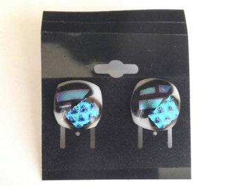 New! Dichroic Glass Post Earrings - Free Shipping B16