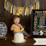 Where The Wild Things Are First Birthday Stats Poster - Wild Things Chalkboard Stats Sign - Chalkboard Wild Thing Milestone Sign - Max Crown