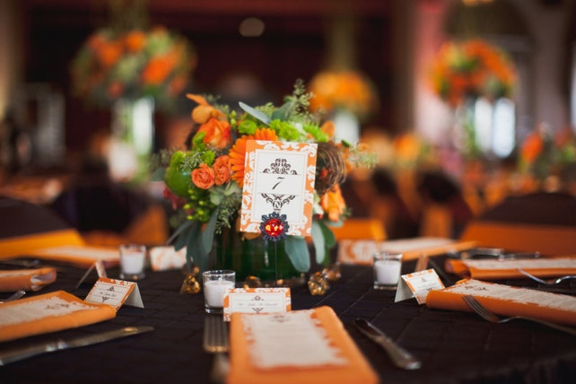 Orange & Chocolate Brown Damask Tent Place Cards