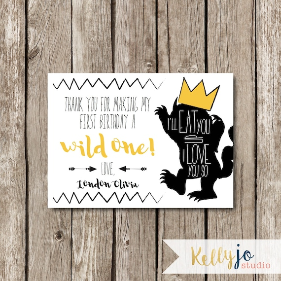 Where The Wild Things Are Birthday Party Thank You Card Wild Etsy