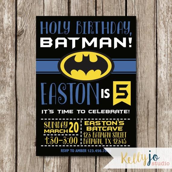 batman birthday party invitation yellow black and blue etsy
