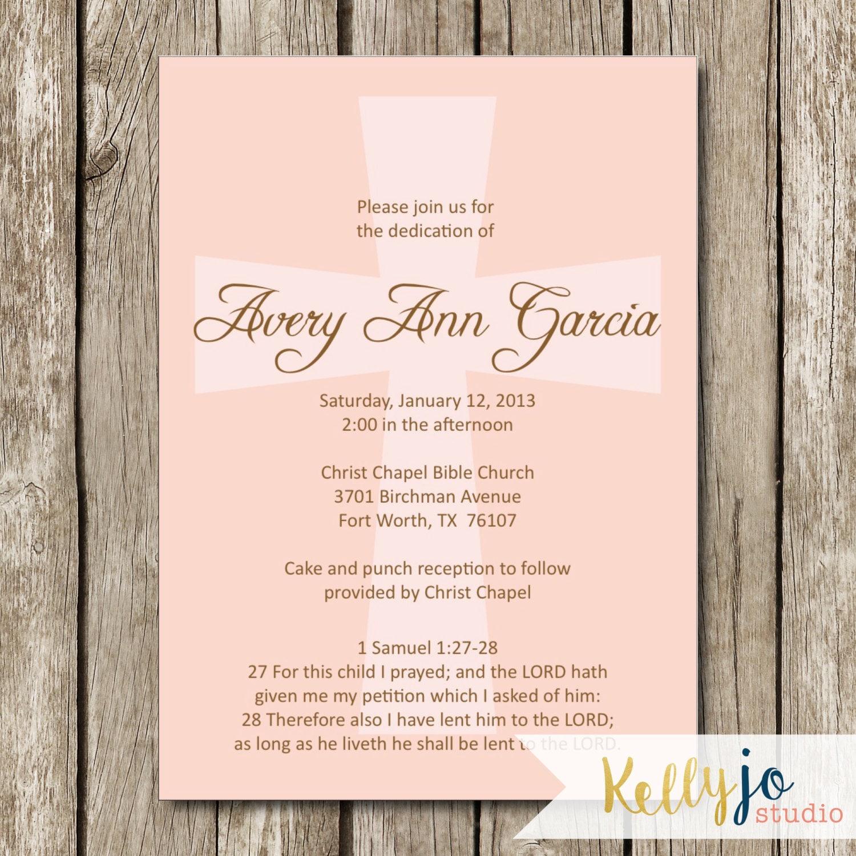 Pink Cross Baby Dedication Invitation Baby Dedication Invite   Etsy