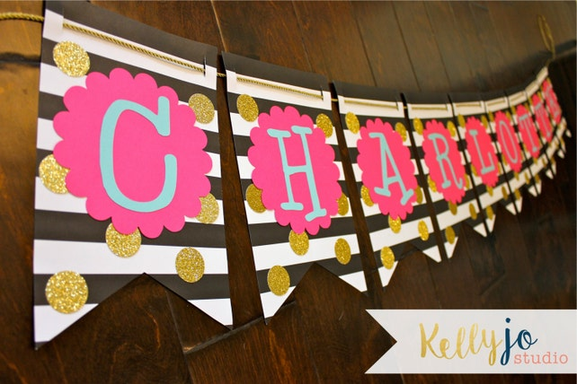 Black White Stripes With Gold Glitter Polka Dots Paper Banner