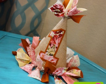 Floral, Pink and Burnt Orange Fabric and Burlap Cake Smash, Photo Prop, Birthday Party Hat - Floral Fox Themed First Birthday Party Hat