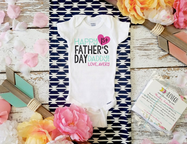 Baby bodysuit First Fathers Day Customizable Happy 1st Father/'s Day Unisex