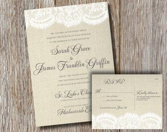 Burlap & Lace | Wedding Invitation + RSVP Card