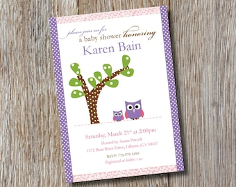 Adorable Owls Baby Shower Invitation
