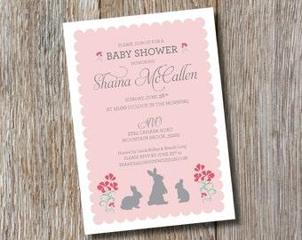 Printable | Three Bunnies | Baby Shower Invitations