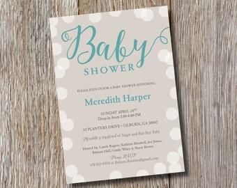Printable | Teal & Grey Baby Shower Invitation