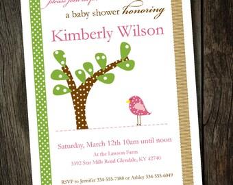 Adorable Bird Baby Shower Invitation