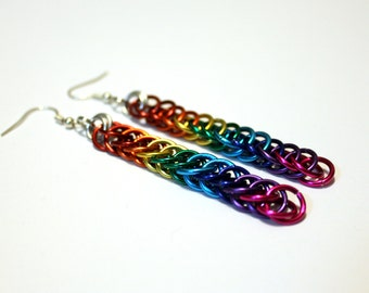 Rainbow Chainmaille Earrings