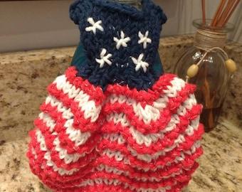 Holiday themed dishcloth dresses