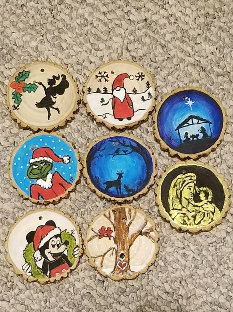 Custom hand painted wooden ornaments image 0