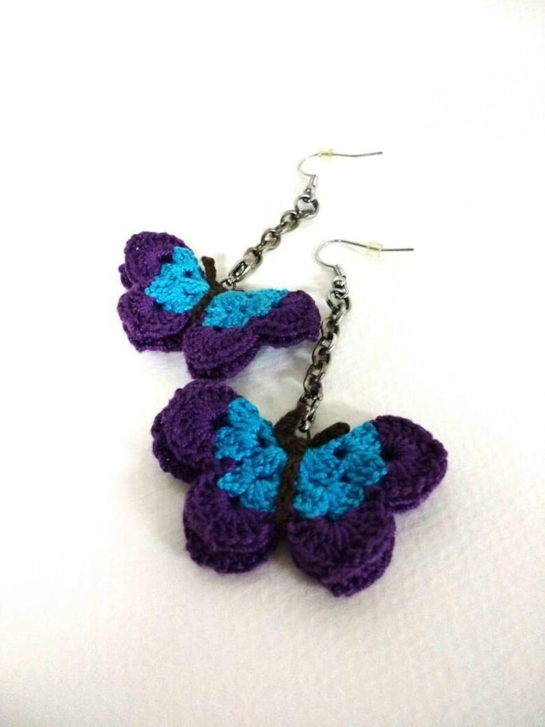 Hand crocheted seasonal earring charms  fall leaves  image 0