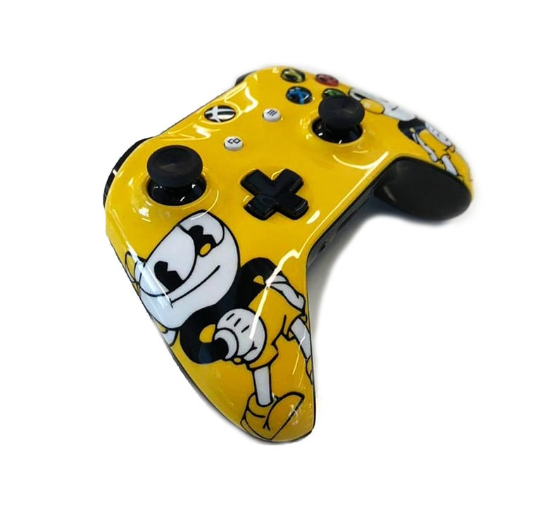 Custom Painted Cuphead Mugman Themed Xbox One Controller S 3 5mm + LED  Bluetooth Active PC