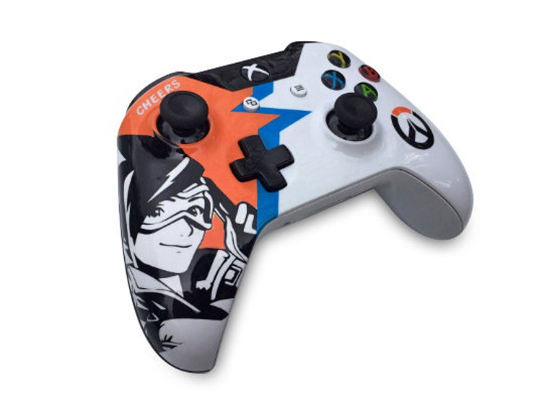 Custom Painted Tracer Overwatch Xbox One Wireless Controller S 3 5mm  [Bluetooth]