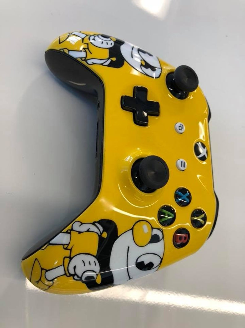Custom Painted Cuphead Mugman Themed Xbox One Controller S 3.5mm LED Bluetooth Active PC