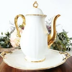 Vintage Rosenthal Coffee Pot & Cake Plate Set - White and Gold Coffee Serving Set