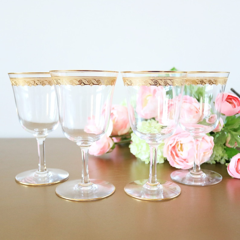 73d22591cca Vintage Wine Glasses With Gold Rims Set Of 4 Gold Band