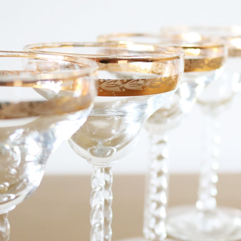 df360ee2b609 Small Champagne Coupe Glasses Set Of 4 Gold Rimmed Stem