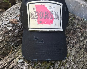 de9f2777c55 Distressed trucker ball cap - georgia- college game day hat