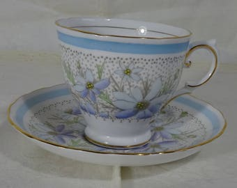 Tuscan Fine English Bone China Tea Cup - Lavender, Periwinkle and Light Blue Floral  - Made in England - Tea Time - High Tea