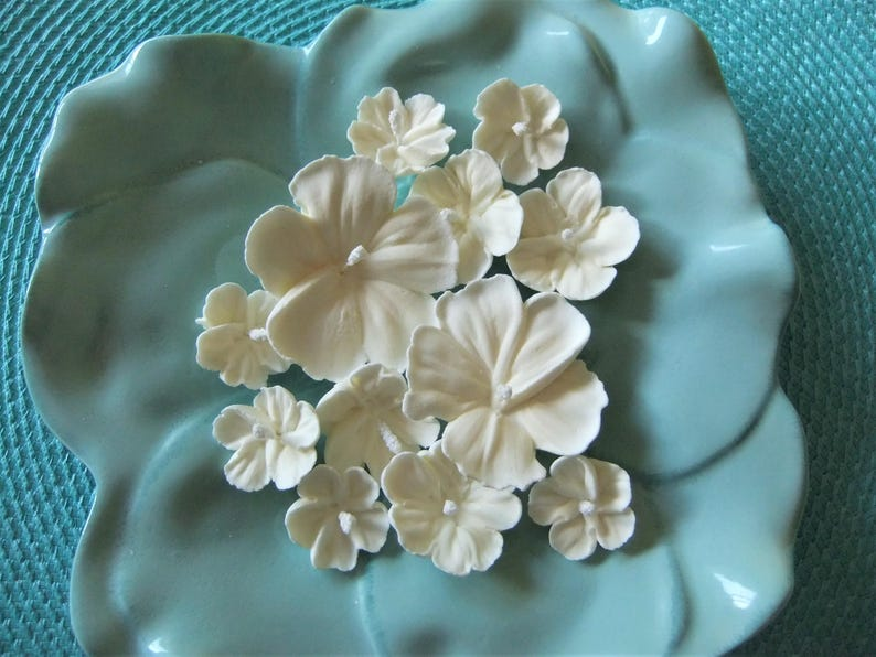 Royal Icing All White Hibiscus Flowers Ready To Ship Etsy