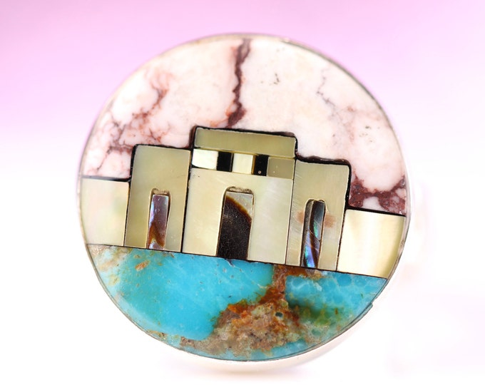 Size 8 Sterling Silver Micro Mosaic Inlaid Jewelry Southwestern Geometric Multicolor Adobe Gemstone Inlay Ring