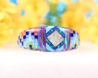 Sterling Silver Zuni Inspired Inlay Ring Size 8 Fire Opal Ring One of a Kind Rainbow Ring Native American Inspired Art Jewelry