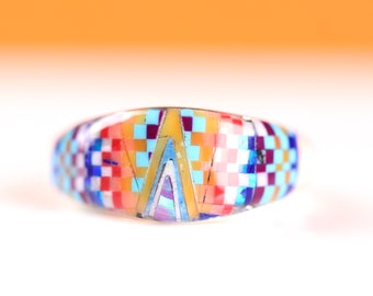 Size 6 - Sterling Silver Zuni Inlay Ring - Geometric Multicolor Opal Gemstone Inlay Jewelry - One of a Kind Rainbow Ring