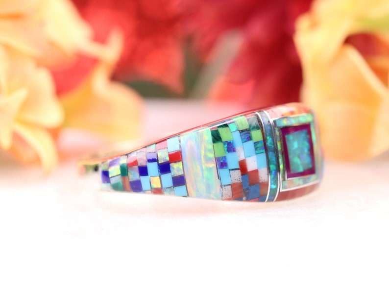Size 9 Fire Opal Zuni Inspired Inlay Ring Sterling Silver Geometric Multicolor Gemstone Inlay Jewelry One of a Kind Rainbow Ring