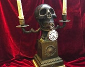 Antique 1800s German Bronze Memento Mori Skull Pocket Watch and candles Holder