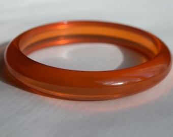 Glowing Orange Prystal with Black Marblette Chunky Polished Catalin Bakelite Bangle 1516 Vintage Bakelite Bracelet
