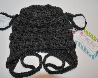 Sale Handmade Crochet Lamb Hat (Newborn Photo Prop)