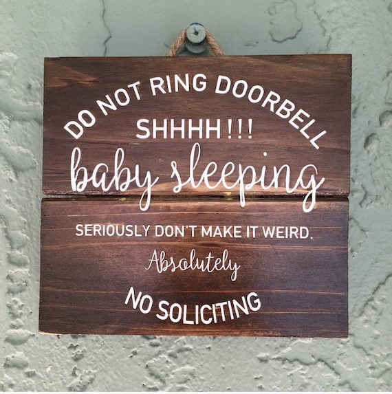 Baby Sleeping Sign No Soliciting Sign Front Door Sign Etsy