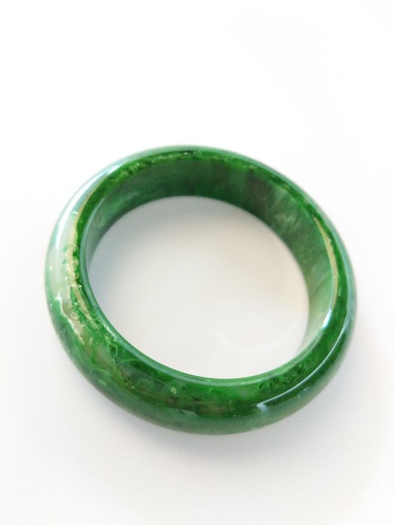 Bakelite Bracelet Emerald Green Marbled Chunky Polished Bakelite Bangle 34