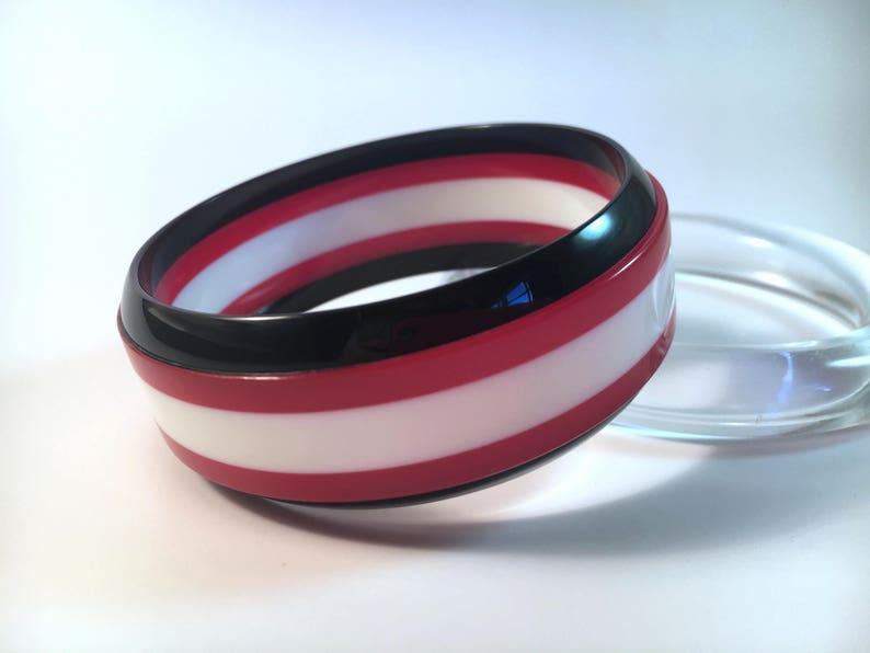 1 New Made Bakelite Bangle Black /& White Stripe Laminate Polished Bakelite Bracelet 1 116 Jesse Fowler Original Chunky Red