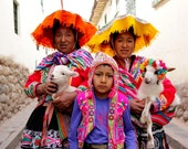 Cusco Kids Color Photograph; Peruvian Family Portrait; Cusco, Peru Color Photo; Vibrant Peruvian Cultural Print