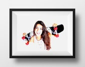 Skater Girl Photo Art Print/ Original Skateboard Photograph Art Print/ Skater Chick Contemporary Urban Wall Art