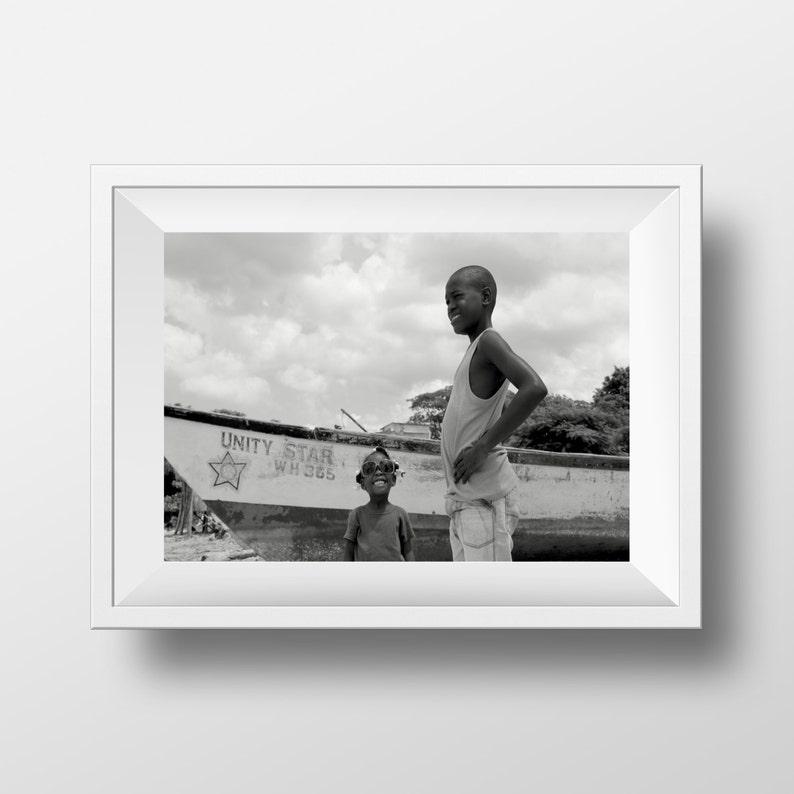Jamaica  Unity Star  Fine Art Print  Black and White Print image 0