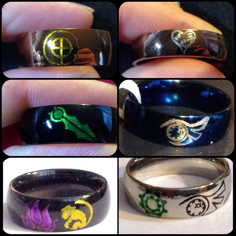 RWBY Stainless Steel Engraved Rings - Option to Add Ink - Sizes 3-16 - Ruby  Rose, Weiss Schnee, Blake Belladonna, Yang Xiao Long, or Custom